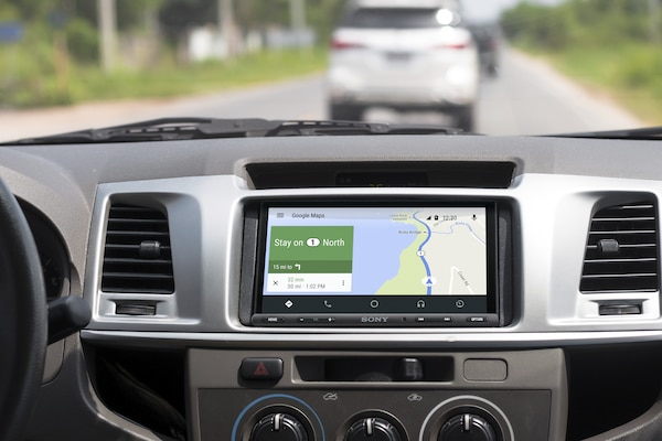 XAV-AX5000 displaying directions Android Auto