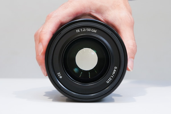A frontal view of the FE 50 mm F1.2 while the aperture is closed down by a few stops