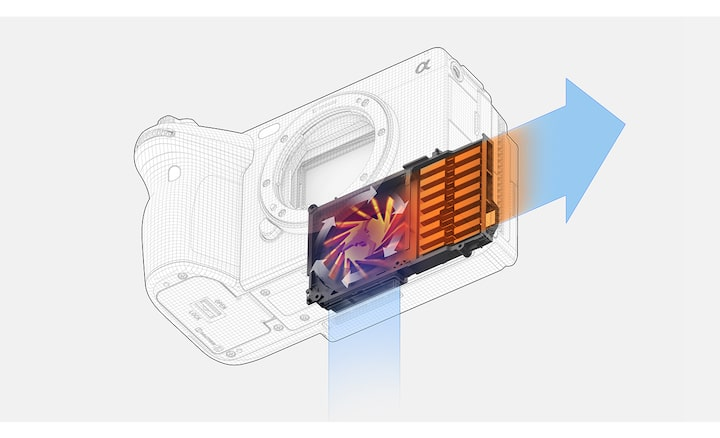 Image of the airflow for cooling in the camera body