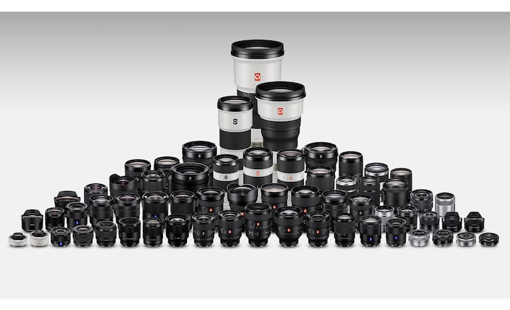 Image of several E-mount lenses from Sony