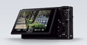 Angled side view of the Sony DCS-RX100 III Cyber-shot™ digital camera with LCD screen