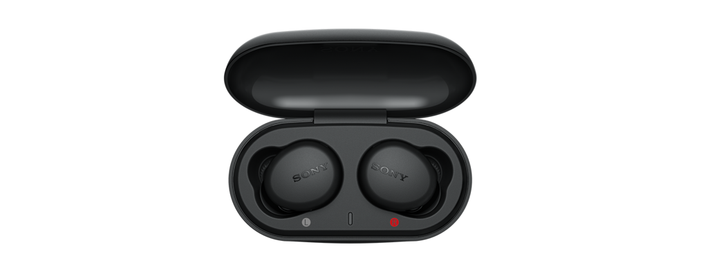Open charging case in black with WF-XB700 headphones inside