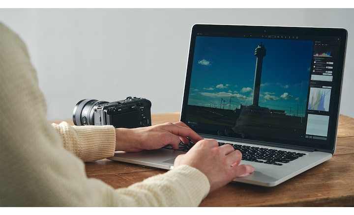 Image of the editing with Imaging Edge on PC