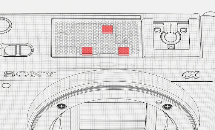 An illustration showing the Directional 3-Capsule Mic inside the ZV-E10