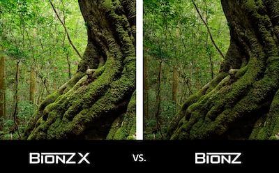 Giant redwood image with moss and BIONZ X™ logos