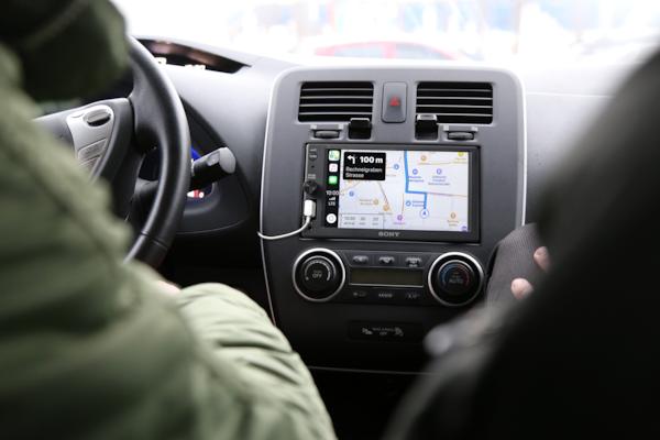 XAV-AX1000 displaying directions with Apple CarPlay