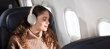 WH-1000XM4 headphones on a plane