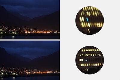 Images illustrating image stabilisation, with blurred image (top) and image (bottom) with roll compensation